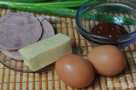 Сырный омлет с ветчиной: продукты