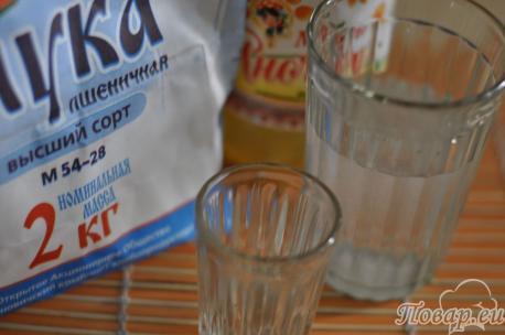 ингредиенты для приготовления теста для чебуреков с водкой