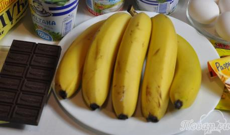 Торт Норка крота с бананами: продукты