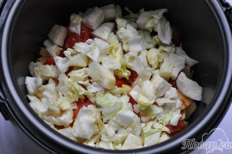 Тушёные овощи с грибами в мультиварке: шаг 2