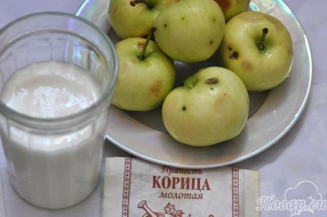 Яблочный коктейль с кефиром: продукты