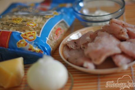 ингредиенты для приготовления запеканки из макарон с курицей